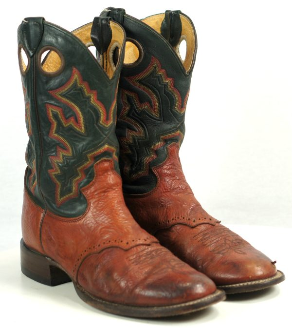 Justin Brown Green Cowboy Roper Boots 10-Row Stitch Vintage US Made Men