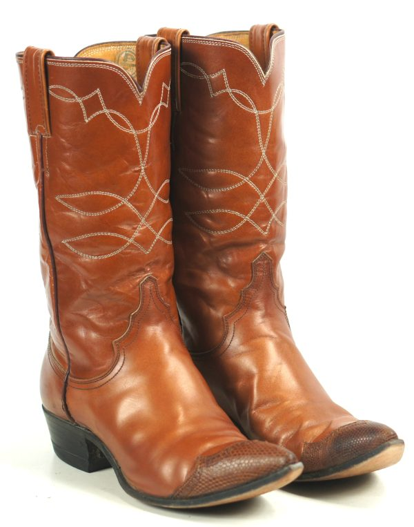 Justin Ft Worth Copper Brown Cowboy Boots Wingtips Vintage US Made Women