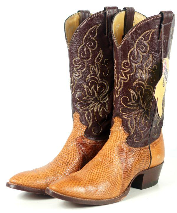 Justin Golden Lizard Western Cowboy Boots Vintage US Made Tags NOS Men