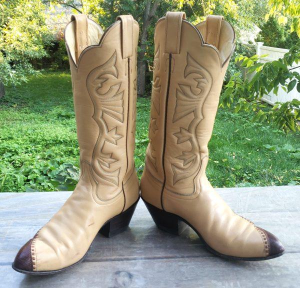 Laramie Cream Leather Scallop Top Cowboy Boots Lizard Toes Vintage Women