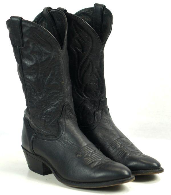Laredo Black Leather Cowboy Western Boots Black Stitch Vintage US Made Mens (5)