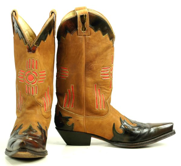 Maraschino Brown Suede Cowboy Boots Inlay Red SW Cross Patent Wingtip Women