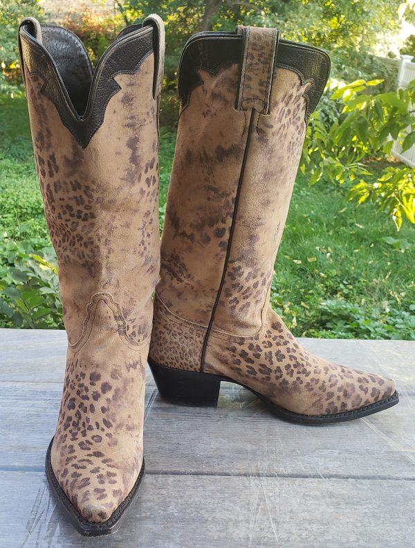 Nocona Brown Velvety Soft Suede Leopard Western Cowboy Boots Boho Women