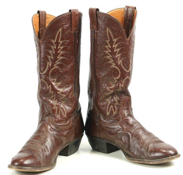 Nocona Russet Brown Leather Cowboy Western Boots Vintage 1993 US Made Men