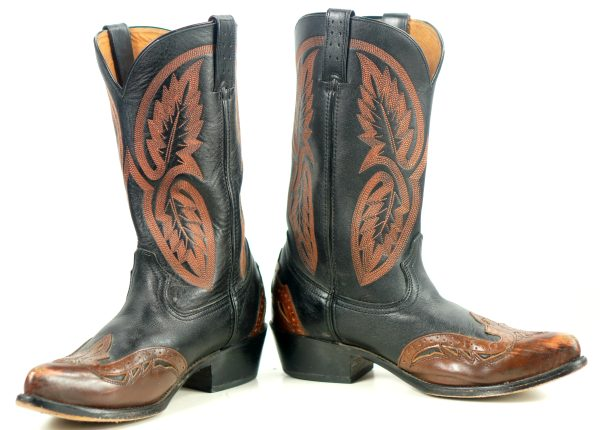 Roadwolf Black Brown Leather Western Cowboy Wingtip Boots 10-Row Stitch Mens (3)