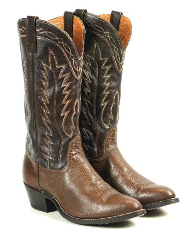 Sears Brown Leather Cowboy Boots Vintage US Made Genuine Roebucks Men