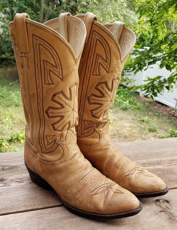 Tony Lama Cream Leather Cowboy Boots Starburst Vintage Black Lbl USA Made Men (12)