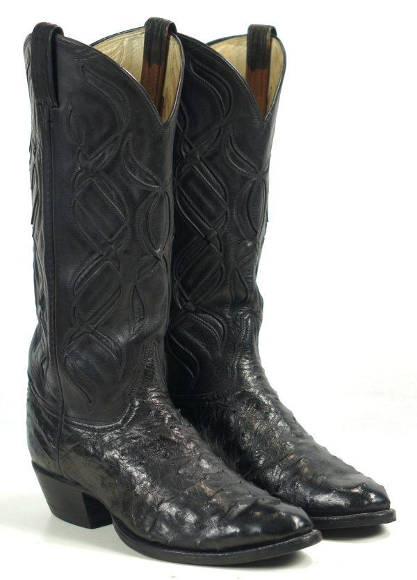 Tony Lama El Rey Full Quill Ostrich Cowboy Boots Cutouts Vintage US Made Men