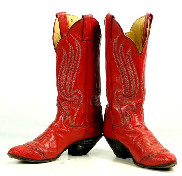 Tony Lama Red Cowboy Boots 8 Row Stitch Vintage Black Label US Made Women