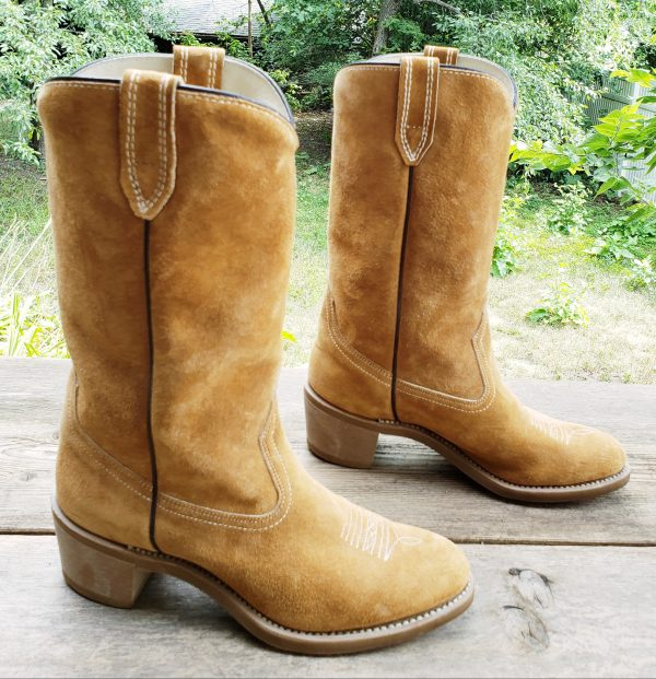 Vintage Wolverine Honey Brown Suede Cowboy Work Boots Vibram Soles Women